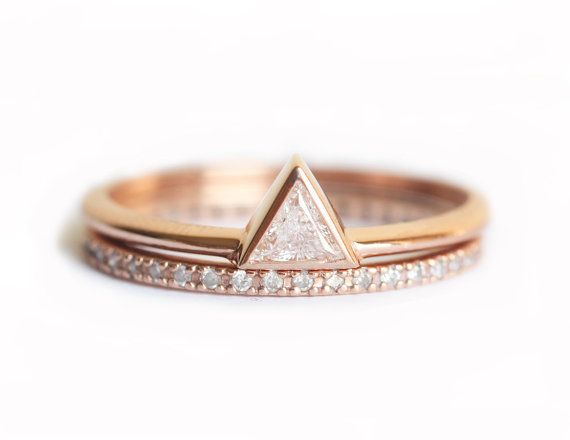 Rose Gold Diamond Wedding Set Wedding Ring Set by MinimalVS