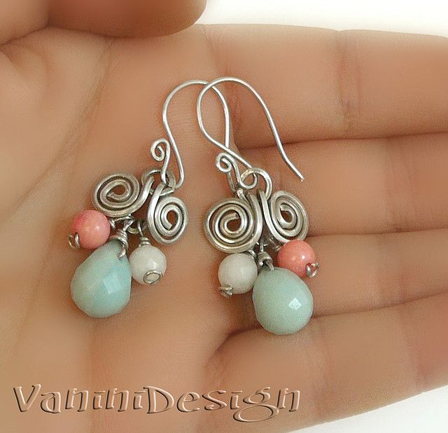 Amazonite Drop Sterling Silver Earrings  Hand made Sterling silver with natural amazonite facet tear drop,snow quartz and pink salmon coral earrings.