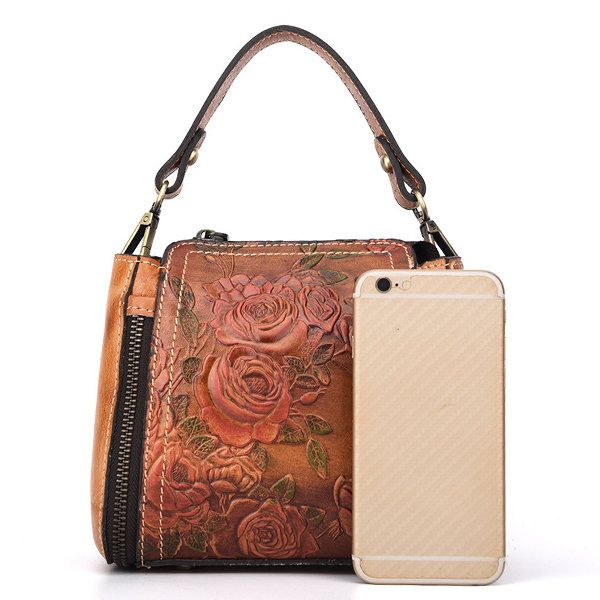 96c6349724b4 Hot-sale designer Brenice New Retro Genuine Leather Bucket Handbag Hand  Embossed Craft Flower Crossbody
