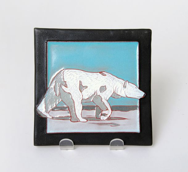 Ceramic tile by Voyager Art & Tile (Red Deer). Member of the Alberta Craft Council