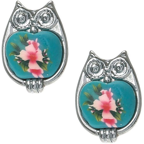 Floral Owl Stud Earrings ($4.34) ❤ liked on Polyvore featuring jewelry, earrings, owl jewelry, floral stud earrings, stud earring set, stud earrings and owl stud earrings