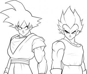 how to draw goku and vegeta step 8