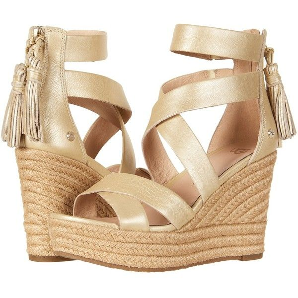 UGG Raquel Metallic (Soft Gold) Women's Wedge Shoes ($160) ❤ liked on Polyvore featuring shoes, sandals, strap sandals, open toe wedge sandals, platform sandals, strappy platform sandals and wedge sandals