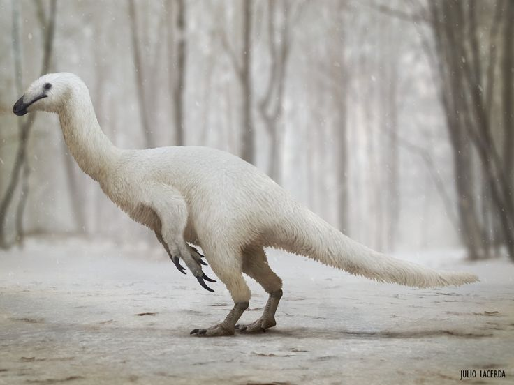 Julio Lacerda | A lone therizinosaur braves the snow in Alaska