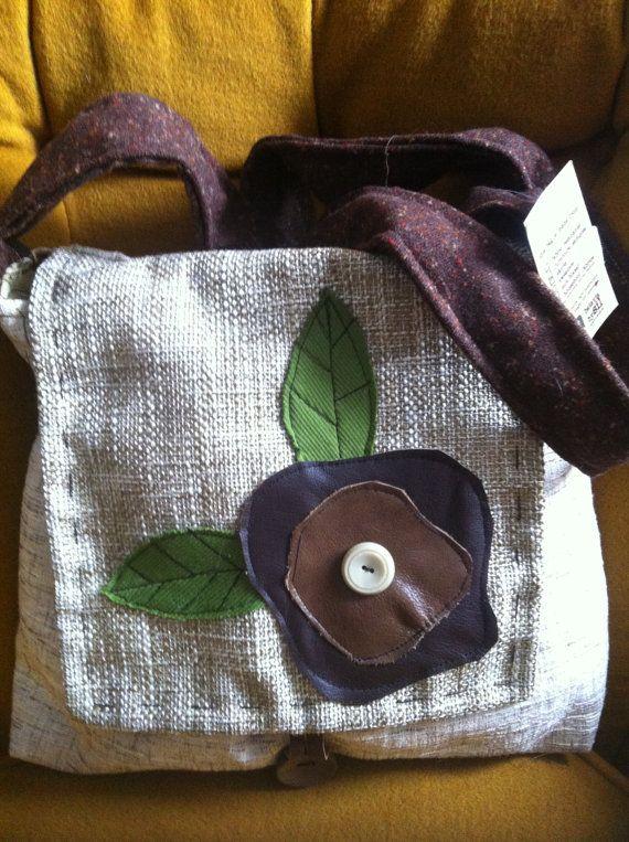 Upcycled Messenger Bag - french vanilla on Etsy, $72.00 CAD
