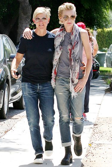 Ellen DeGeneres and Portia de Rossi wear matching aviator sunglasses and boyfriend jeans while shopping on Melrose Avenue in L.A.