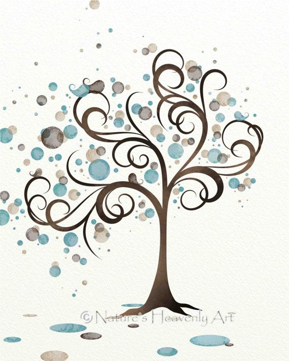 Blue and Brown Watercolor Art Tree Print by NaturesHeavenlyArt, $16.00