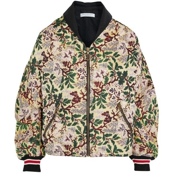 PHILOSOPHY di LORENZO SERAFINI   Floral-jacquard bomber jacket (1,355 ILS) ❤ liked on Polyvore featuring outerwear, jackets, blouson jacket, floral print bomber jacket, colorful bomber jacket, floral-print bomber jackets and zipper jacket