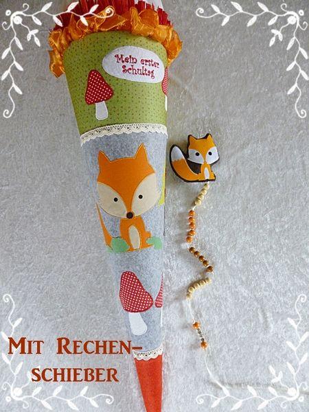 Schultüten - Schultüte Fuchs im Wald mit Rechenschieber - ein Designerstück von diegeschenkidee bei DaWanda
