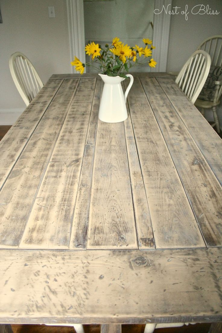 DIY Farmhouse Table. Mix a few spoonfuls of clear wax with creamy white paint and you get a colored wax that created this beautiful weathered light washed finish. #DIY