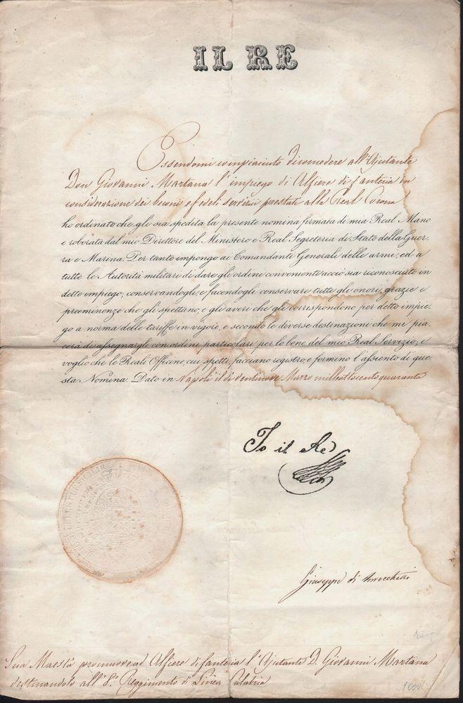 IL RE DI NAPOLI NOMINA ALFIERE DI FANTERIA DON GIOVANNI MARTANA 29 MARZO 1840