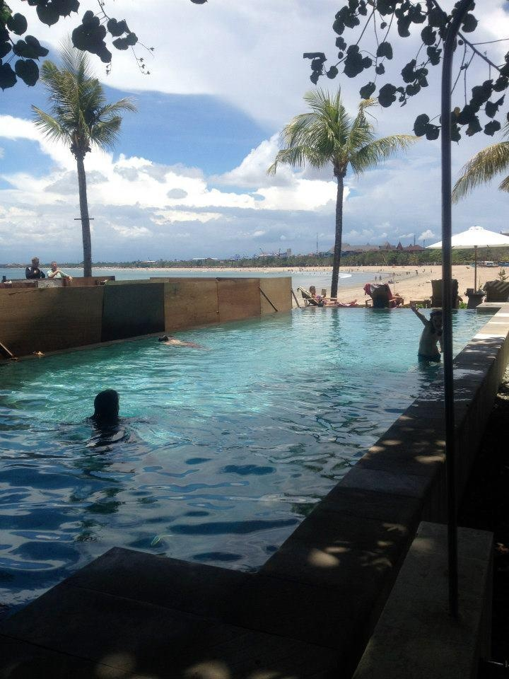 Bali swimming on the beach