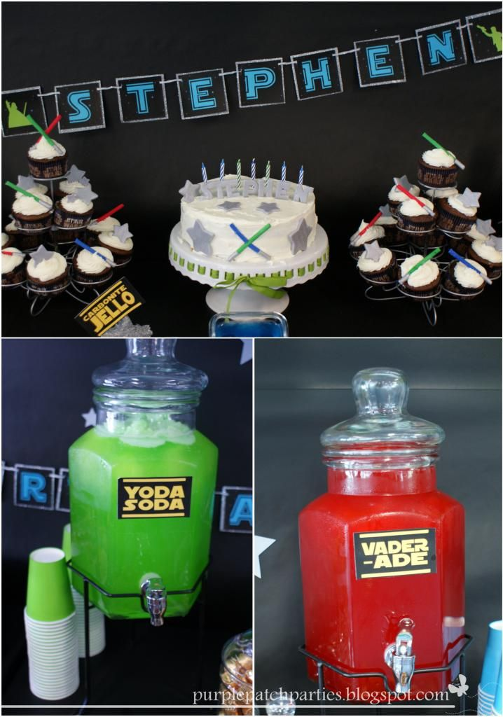Yoda Soda  Vader-Ade ~ so clever for a Star Wars themed party ~ The Vader-Ade is simply red Gatorade.  The Yoda Soda is green Hawaiian Punch and 7up with some green sherbert on top.  I made ice cubes from both the Gatorade and Hawaiian Punch to keep the drinks cold without watering them down.