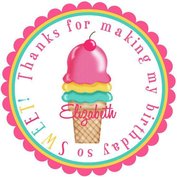 Eiscreme-Aufkleber-Tupfen-Eiscreme durch LittlebeaneBoutique   – Ice cream 8th birthday