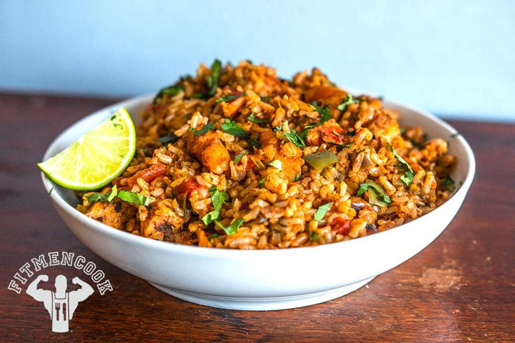 Try this Spanish Rice with Chicken & Shrimp from the Fit Men Cook app