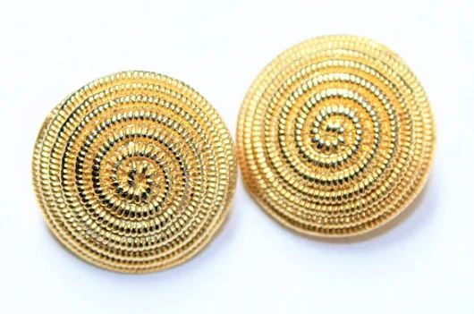 Gold Coloured Large Swirl Patterned Vintage Clip On Statement