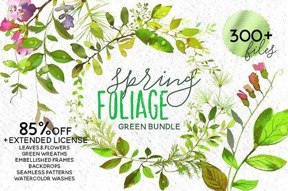 Spring Foliage Watercolor Bundle - Illustrations