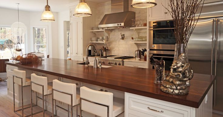 walnut counter white painted cabinetry Colonial Kitchen Cabinets