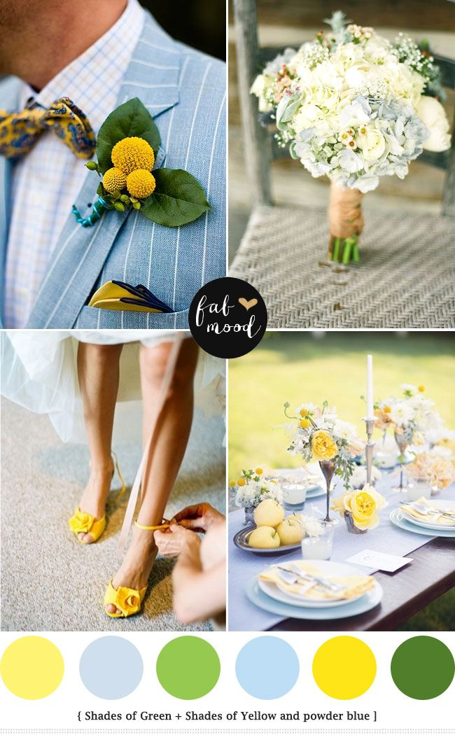 Blue green yellow | http://www.fabmood.com/blue-green-yellow-wedding-palette/