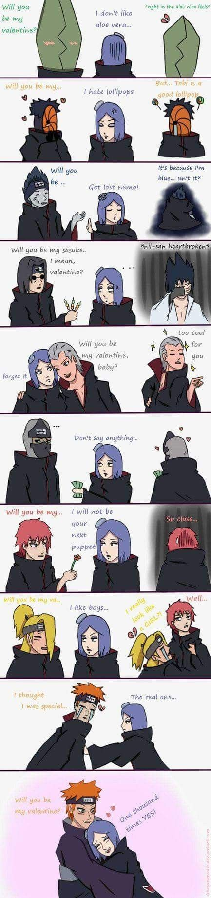 Haha  Konan on Valentine's Day... That's so funny ❤️❤️❤️ Akatsuki's struggle with only one girl...