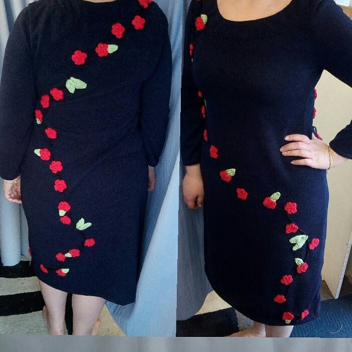 Navy wool dress with flower and leaf crochet design by cdfashions
