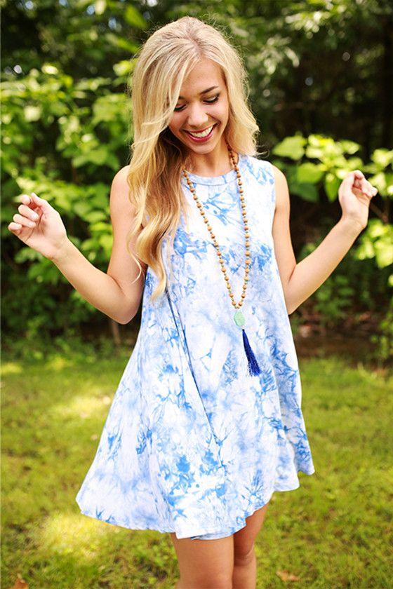 Road Trip Ready Tie Dye Tank Dress in Blue