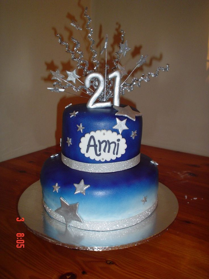 Blue and Silver 21st Cake