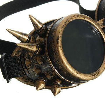 Men Vintage Victorian Gothic Cosplay Rivet Steampunk Goggles Glasses Hippie Sunglasses at Banggood