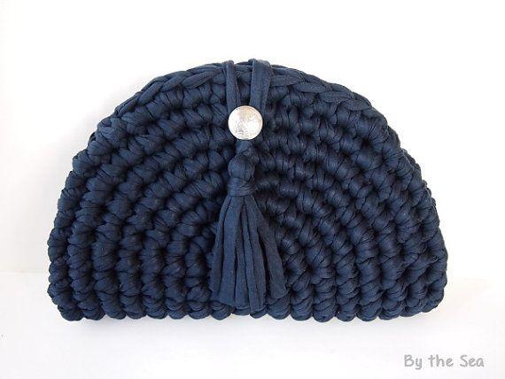 T shirt yarn  crochet Clutch Bag   Navy recycled by BytheSeajewel