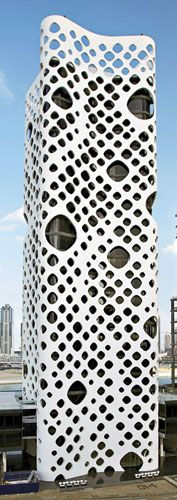 0-14 Tower  Reiser + UmemotoUmemoto Holepunch, Business Bays, 01 Architecture, Dubai Business, Artworks Architecture, Perforated Skin 0 14, Skin 0 14 Towers, Umemoto Architecture, Towers Reiser