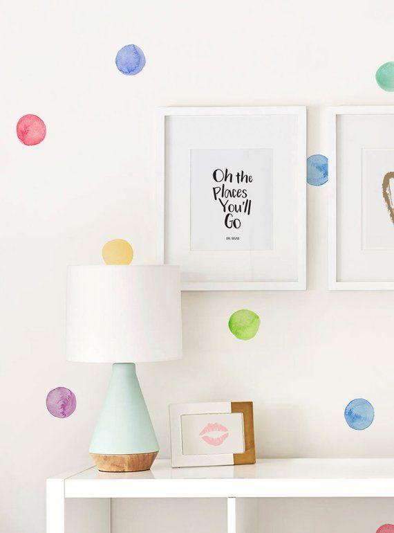 Watercolor Dots Wall Stickers Rainbow Irregular Shaped Dots