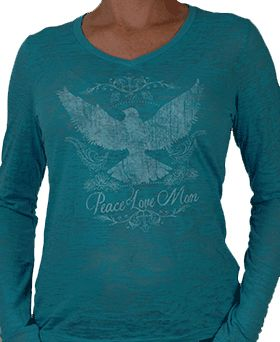 Women's PLM with Dove Turquoise V Neck Burnout Tee by peacelovemom.com #Mother's_Day #Mother's_Day_gifts #Wome's_tees #long_sleeved #turquoise #blue #dove #peace