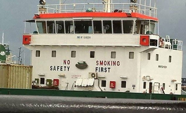 Not really ship shape: This safety message has gone up in smoke...