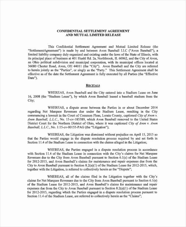 Simple Settlement Agreement Unique 14 Confidential Settlement Agreement Templates Free Agreement Letter Of Agreement Sample Contract Template