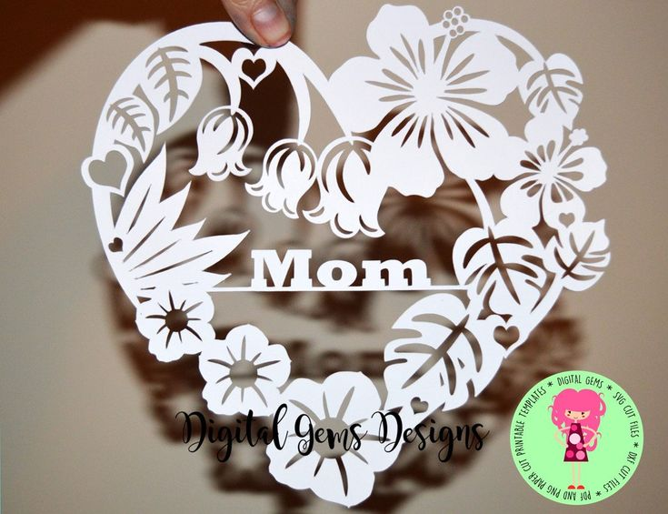 Mom Heart Flower Papercut Template, SVG / DXF Cutting File for Cricut / Silhouette & PDF Printable For Hand Cutting, Digital Download, by DigitalGems on Etsy