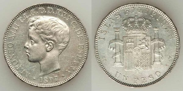 Crown Size Silver Coin from The Philippines 1897 One Peso Choice Extremely Fine to About Uncirculated King Alfonso XIII