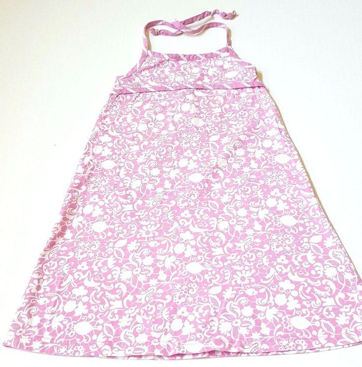 Hanna Andersson Dress SIZE 130 Halter Knit Floral Pink White #HannaAndersson #HalterDress #Everyday