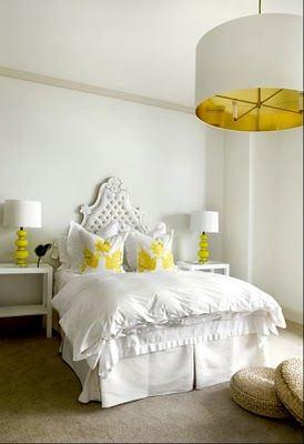 White & yellow bedroom: Lights Fixtures, Bedrooms Design, Yellow Bedrooms, White Beds, Master Bedrooms, White Bedrooms, Pendants Lights, Guest Rooms, Yellow Accent