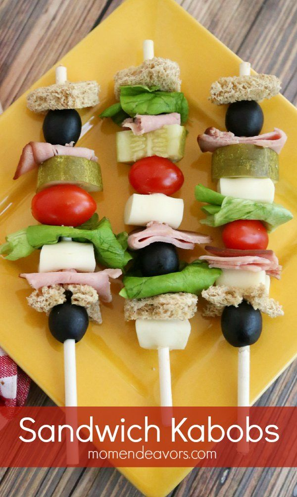 Such a fun lunch to make for camp lunch! Use a straw or small skewer to make cold cut kabobs for kids.