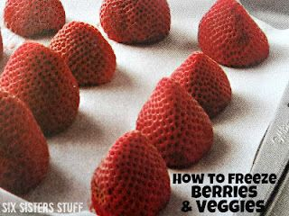 How to Freeze Berries and VeggiesFreeze Fruit, Cooking Recipe, Freeze Berries, Freeze Veggies, Freezers Meals, How To, Cooking Tips, Sixsistersstuff, Six Sisters Stuff