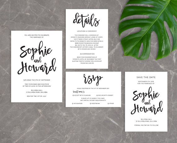 DIY Printable Simple Handwritten Wedding Invitation Main Invitation | Save  The Date | RSVP | Details