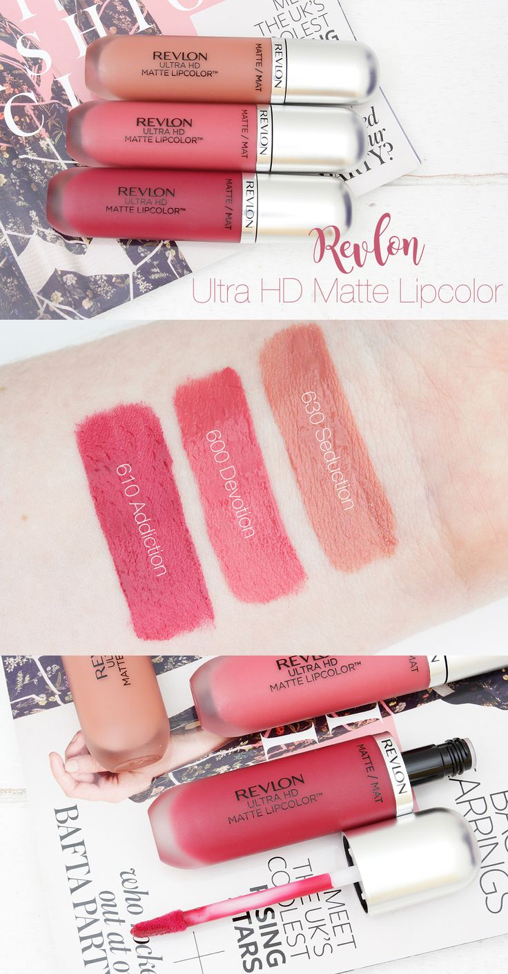 """Review and Swatches: Revlon Ultra HD Matte Lipcolor """"630 Seduction"""", """"600 Devotion"""" and """"610 Addiction""""."""