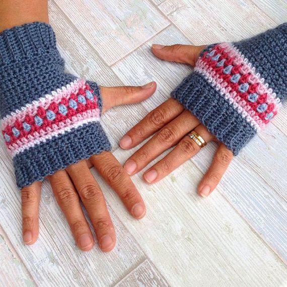 Crochet Pattern Nordic Wrist Warmers/Fingerless by MyRoseValley