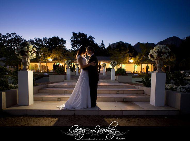 Night wedding photo at Lourensford Wine Estate.