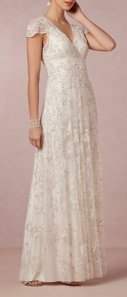 BHLDN  Mira Gown- This dress would be really pretty with a different kind of lace over the satin.