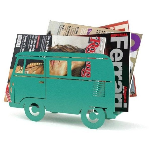 Campervan Magazine Rack Green ($23) ❤ liked on Polyvore featuring home, home decor, small item storage, green home decor and green home accessories