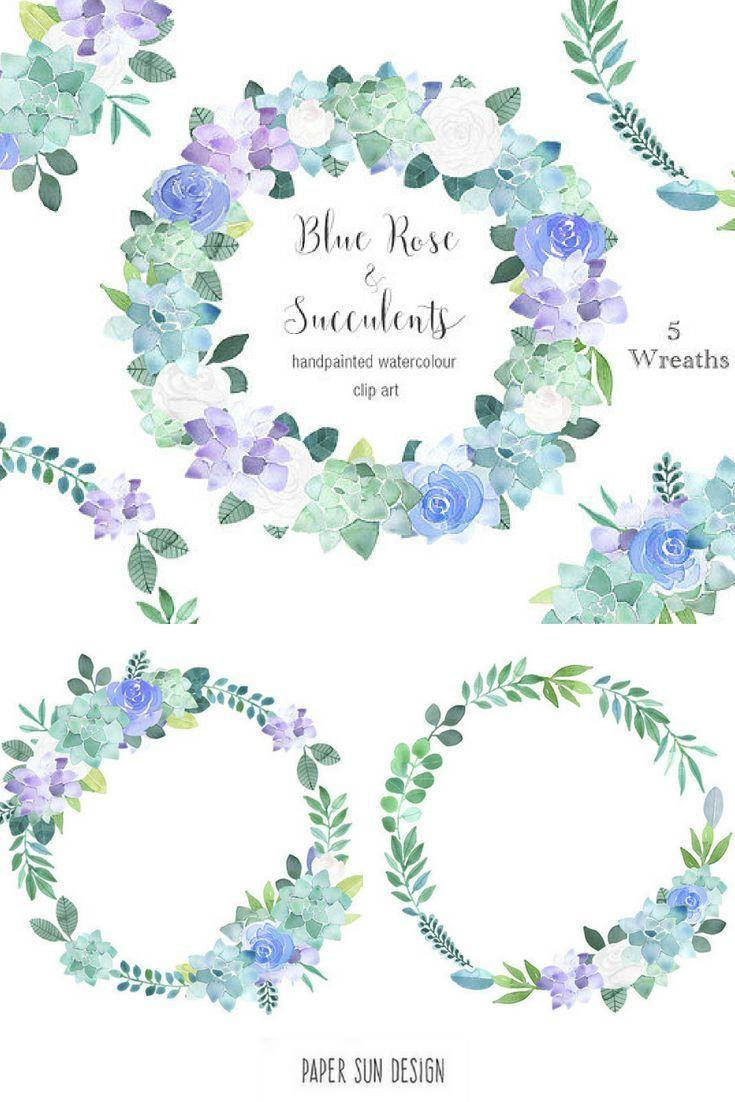wreath clipart blue succulents violet lavender purple flower roses succulent clip art wedding wreaths scrapbooking etsy branding watercolour  [ 735 x 1102 Pixel ]
