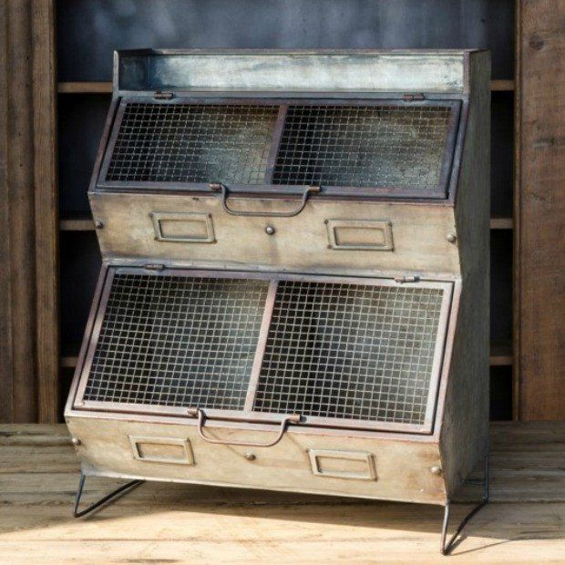 Aged Metal Vegetable Storage Bin Vegetable Bin Vintage Industrial Decor Antique Kitchen