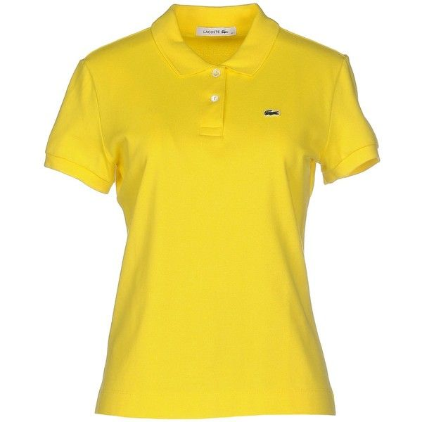 Lacoste Polo Shirt (2,765 PHP) ❤ liked on Polyvore featuring tops, yellow, short sleeve tops, polo top, short sleeve polo shirts, yellow polo shirt and yellow top