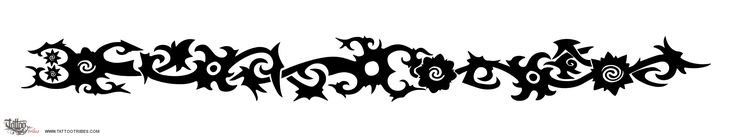 borneo-armband-tattoo.jpg (2667×500)  This armband, designed to wrap around the arm in a spiral, incorporates some Borneo scorpions, stars and rosettes. It can also be easily splitted in simpler parts. In general, a great part of the designs used by men in Borneo tattooing is related to valiance or to hunting and fighting abilities, and often has a meaning of protection too.
